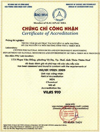 Trung tâm Quan trắc Tài nguyên và Môi trường Thừa Thiên Huế được cấp Chứng chỉ công nhận phù hợp với tiêu chuẩn quốc tế