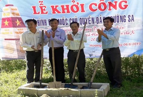 """Khởi công công trình """"Mô hình cột mốc chủ quyền Trường Sa"""" tại  Hương Thủy"""