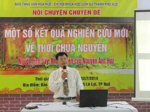 """Buổi nói chuyện chuyên đề """" Một số kết quả nghiên cứu mới về thời Chúa Nguyễn"""" của nhà nghiên cứu, bác sĩ Nguyễn Anh Huy."""