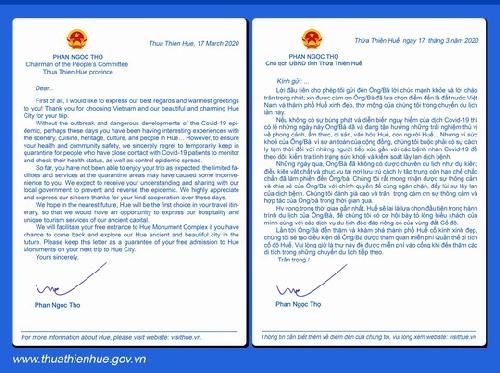 Chủ tịch UBND tỉnh Phan Ngọc Thọ  gửi thư đến các du khách nước ngoài đến Thừa Thiên Huế du lịch nhưng tạm thời bị cách ly do dịch Covid-19
