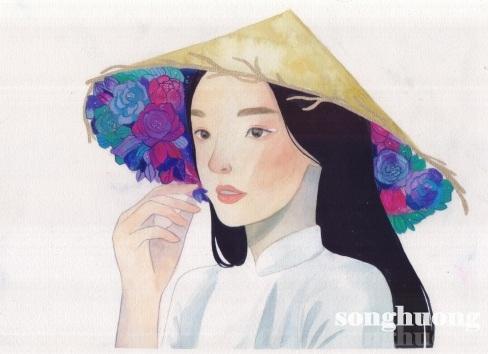 Hoa trong nón